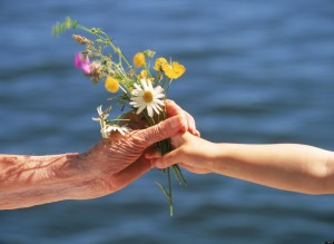 Grandchild offering small bouquet of summer wild flowers to grandmother